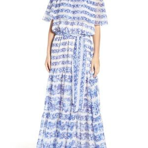 Eliza J  NWOT size 2p white and blue floral maxi